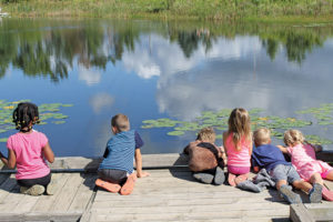 Outdoor Discovery Center Macatawa Greenway kids at pond