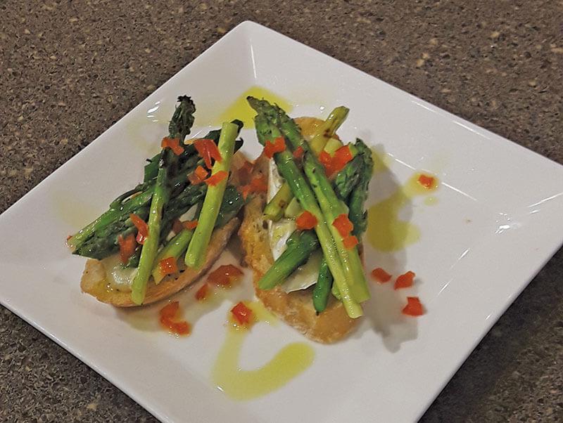 Grilled Asparagus & Brie Bruschetta