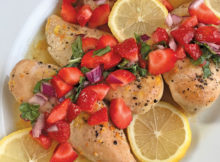 BAKED LEMON CHICKEN with STRAWBERRY BASIL SALSA