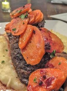 Beef short-rib Rioja-demi, honey carrots with mashed potatoes