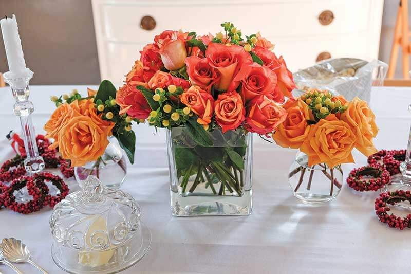 Bring a beautiful table centerpiece to a dinner