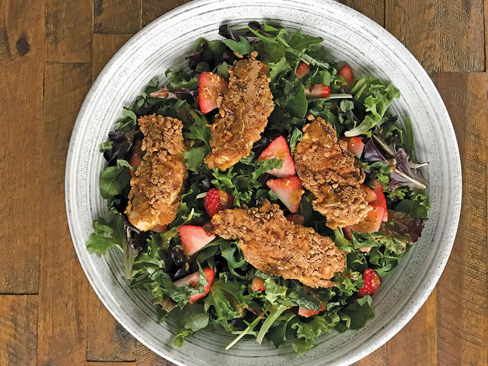 pretzel crusted chicken salad with strawberries
