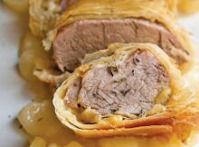 PORK TENDERLOIN IN PHYLLO with SAUTEED APPLES