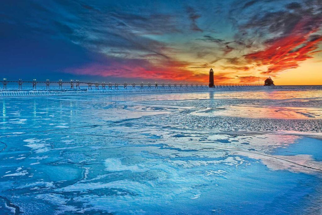 Grand Haven icy pier