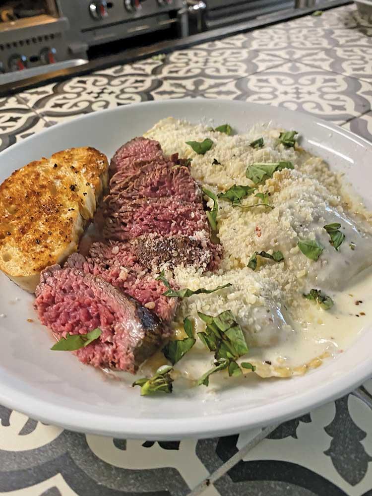 Mushroom ravioli with steak