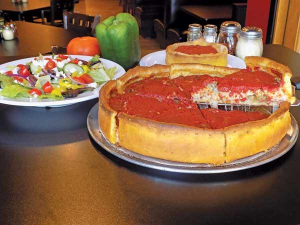 Carnivore deep-dish pizza